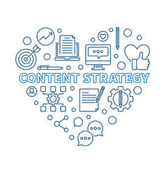 content strategy heart blue linear vector image