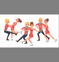 couple with ice skaters training ice show vector image