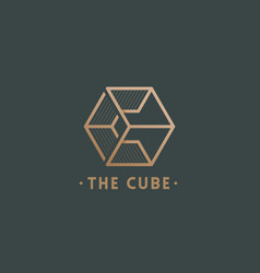 cube abstract sign emblem or logo vector image