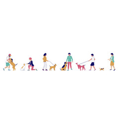 dog walker characters flat isolated vector image