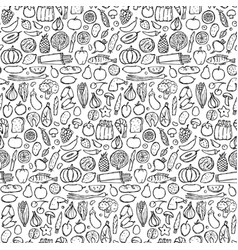 Doodle food seamless pattern vector