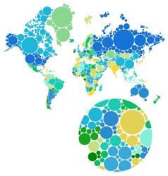 dot world map with countries vector image