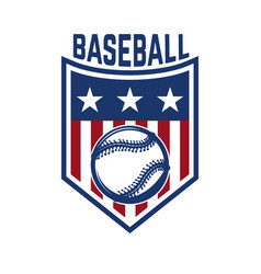 Emblem with baseball ball design element for logo vector