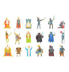 Fairy-tale kings set of cartoon fun vector