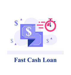 Fast cash loan dollar bill and stopwatch vector