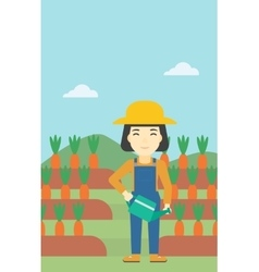 Female farmer and watering can vector