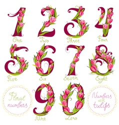 Floral numbers made with tulips vector