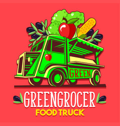 food truck fruit seller greengrocer stand fast vector image