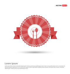 fork and spoon icon - red ribbon banner vector image