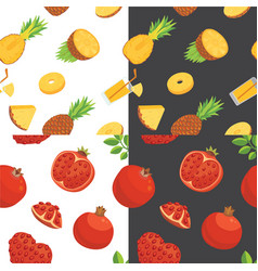 Fresh pomegranates and pineaples hand drawn vector