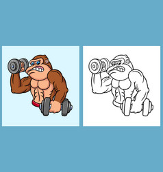 Gorilla fitness cartoon character vector