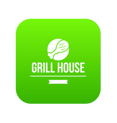 grill chicken icon green vector image