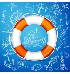 Hand-drawn elements of marine theme with orange vector image vector image