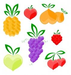hearts fruits vector image