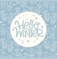 hello winter frame vector image