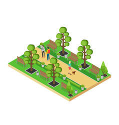 isometric element green park with alley vector image