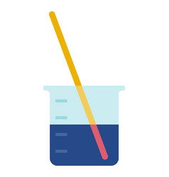 Lab glass with test strip icon flat vector