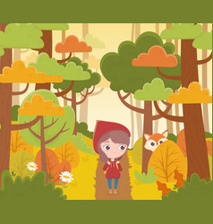 Little red riding hood walking in forest and vector