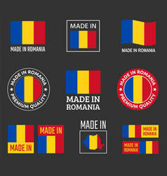 made in romania icon set product labels of vector image