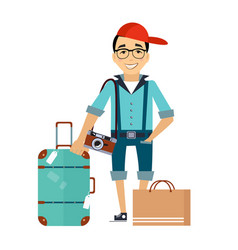 Man with luggage traveler colourful vector