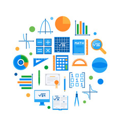 mathematics and science round flat vector image