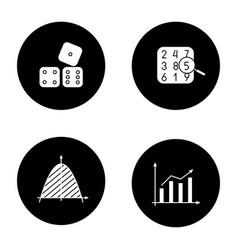 Mathematics glyph icons set vector