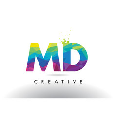 Md m d colorful letter origami triangles design vector