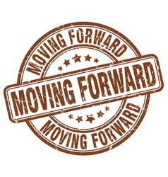 moving forward brown grunge stamp vector image