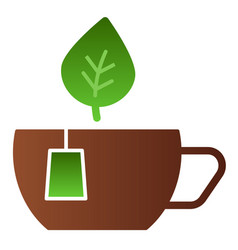 mug with leaves flat icon cup of tea color icons vector image