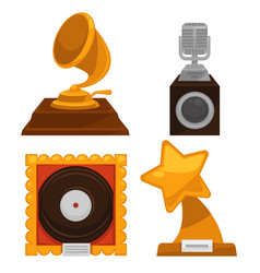 music award old trophy cups isolated objects vector image