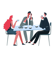 people eating and drinking tea colleagues vector image