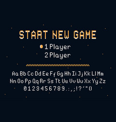 pixel art font retro alphabet for 8bit games vector image