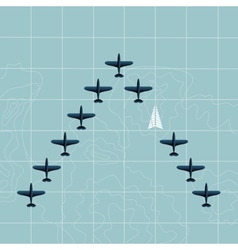 Planes on the map vector image