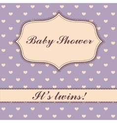 Polka dot hearts baby shower twins vector image