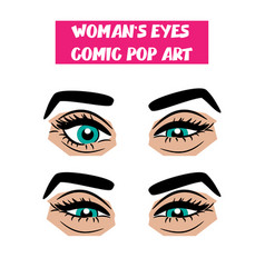 pop art cartoon comic sexy sly woman eyes vector image