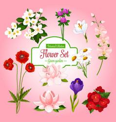 poster of spring garden flowers set vector image