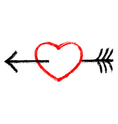 red heart pierced black arrow vector image