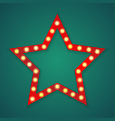 red light star frame background vector image