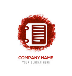 report list icon - red watercolor circle splash vector image