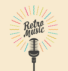 retro music poster with a decorative microphone vector image