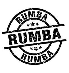 rumba round grunge black stamp vector image