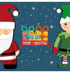Santa and elf cartoon of chistmas design vector
