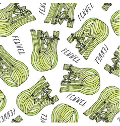 seamless endless pattern of green fennel balb vector image