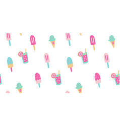 Seamless popsicle summer ice cream pattern vector