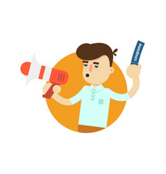 Seller man with megaphone icon vector
