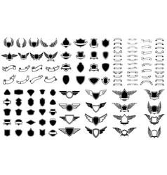 set empty emblems ribbons winged emblems vector image