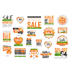 set mothers day sale signs isolated shopping vector image