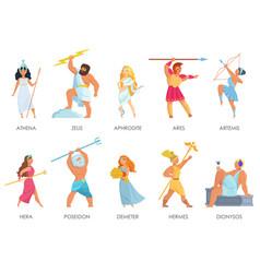 set olympian pantheon greek gods vector image