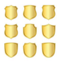 Shield gold icons set shape emblem vector