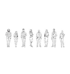 sketch businesspeople team stay on white vector image